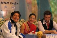 Stefania Berton e Ondrey Hotarek sul Kiss and Cry del Gran Prix i Giappone 2011