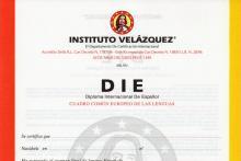 Facsimile Certificato DIE - INSTITUTO VELAZQUEZ
