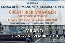 Corso Formazione Credit Risk Manager, Milano 25-27 Novembre 2019