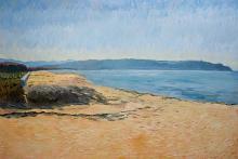 """""""La spiaggia di Furnari, primo pomeriggio"""", cm 70x100, olio su tavola, 2012"""