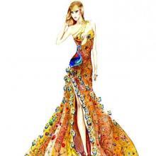 Corso Stilista di Moda-Vestito Pavone