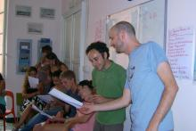 """Stefano and Gianluca teaching the """"sing a song"""" lesson"""