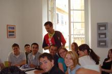 Us students enjoying their Italian class